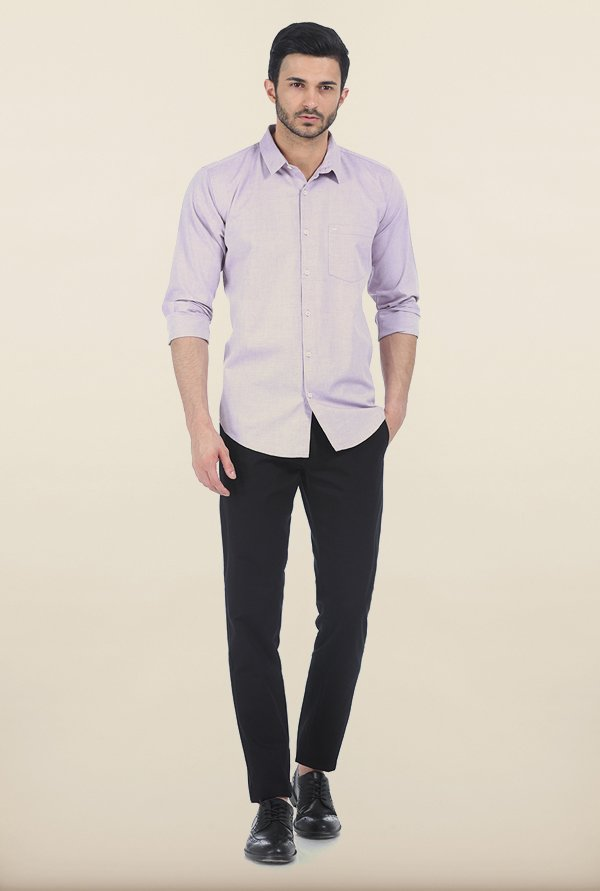 Basics Lavender Frost Oxford Slim Fit Shirt