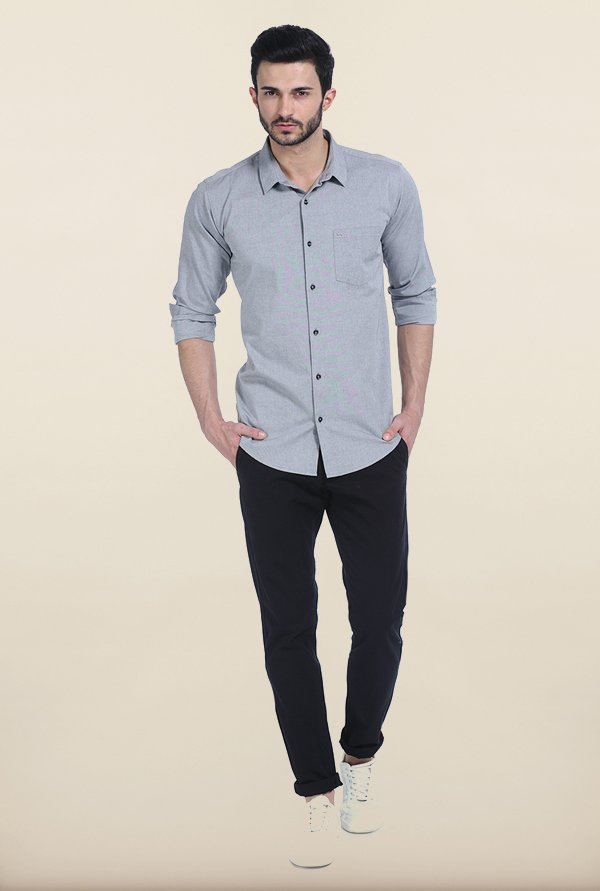 Basics Silver Scone Slim Fit Oxford Shirt