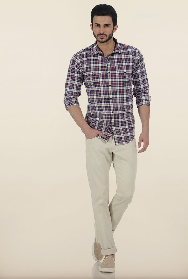 Basics Maroon Checked Slim Fit Oxford Shirt