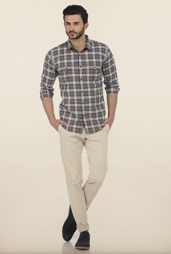 Basics Toasted Coconut Checks Slim Fit Oxford Shirt