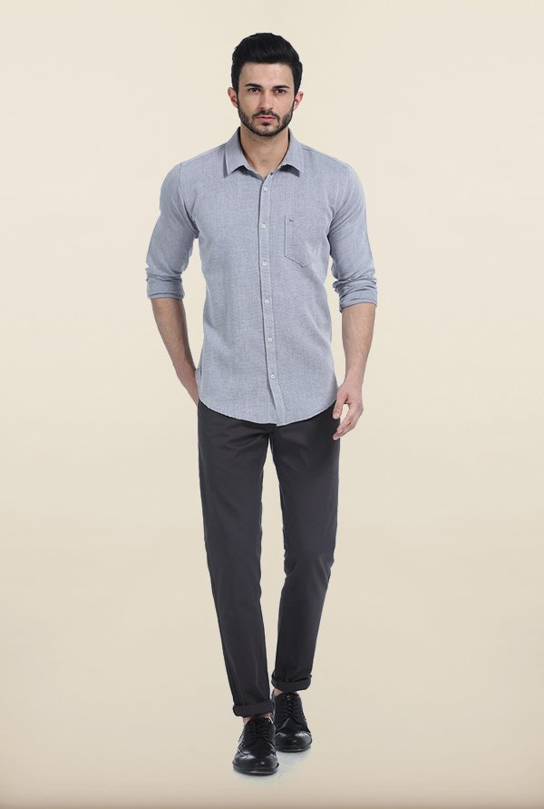 Basics Steel Grey Slim Fit Dobby Shirt