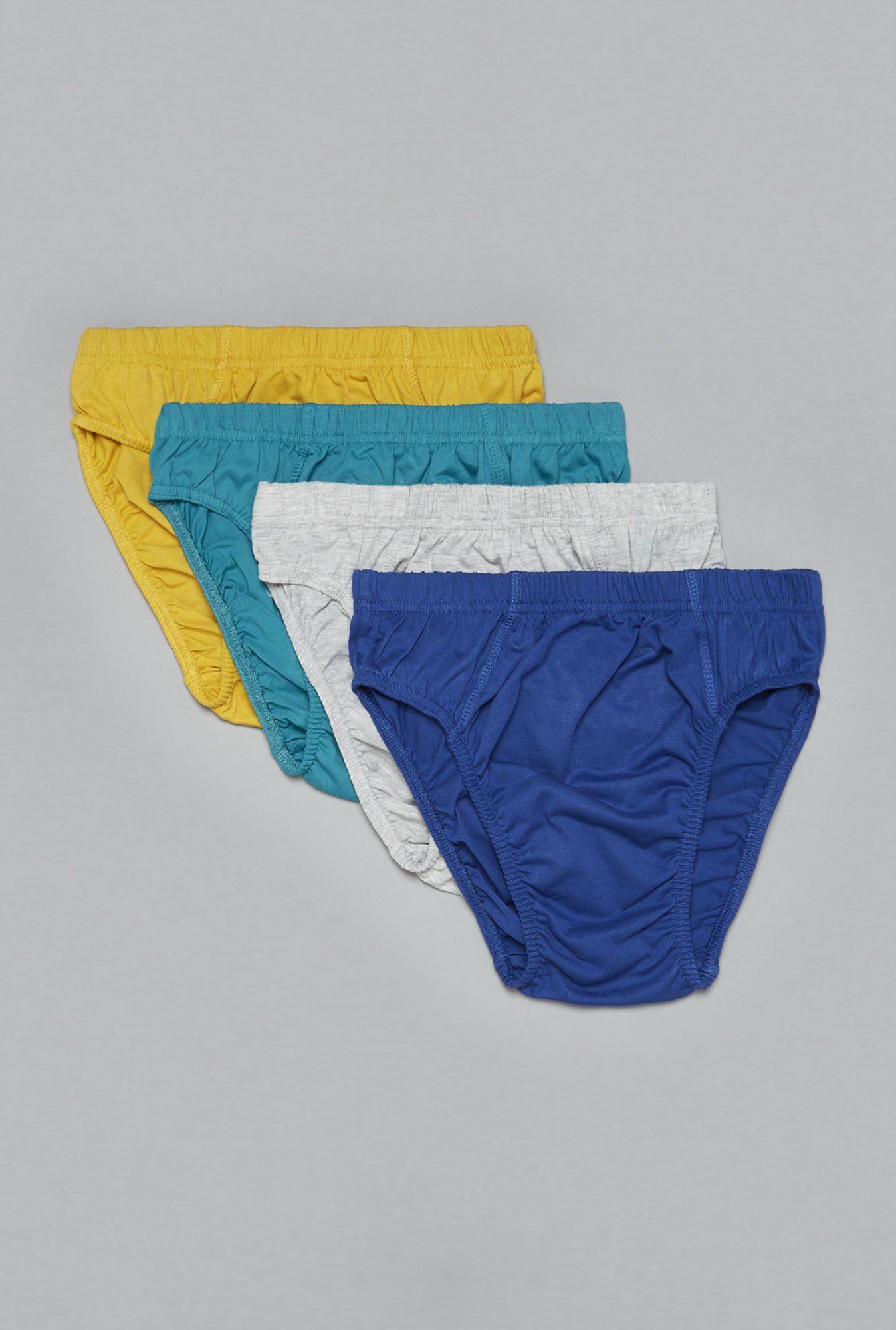 Westsport by Westside Grey, Blue, Yellow Briefs (Set Of 4)