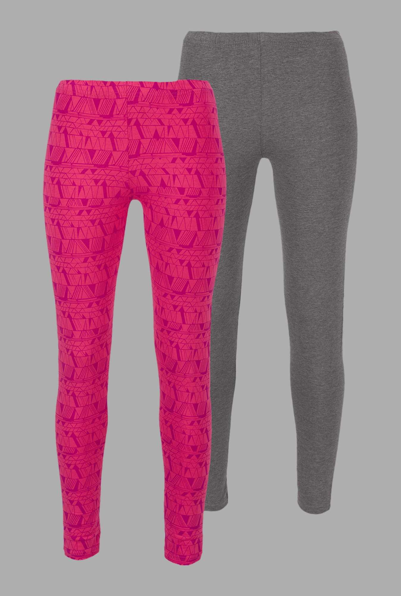 Doone Grey & Pink Printed Training Pants (Set Of 2)