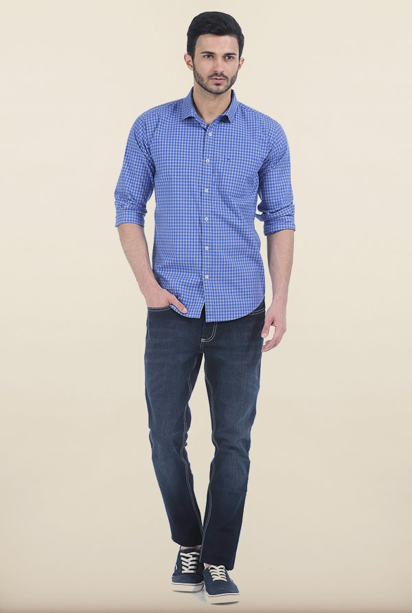 Basics Deep Blue Gingham Checks Slim Fit Shirt
