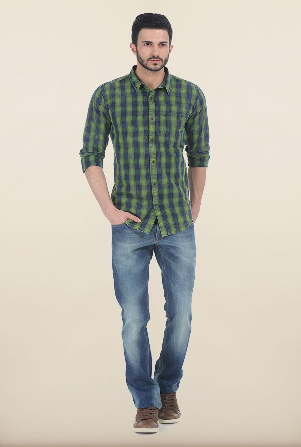 Basics Treetop Green Indigo Checks Slim Fit Shirt