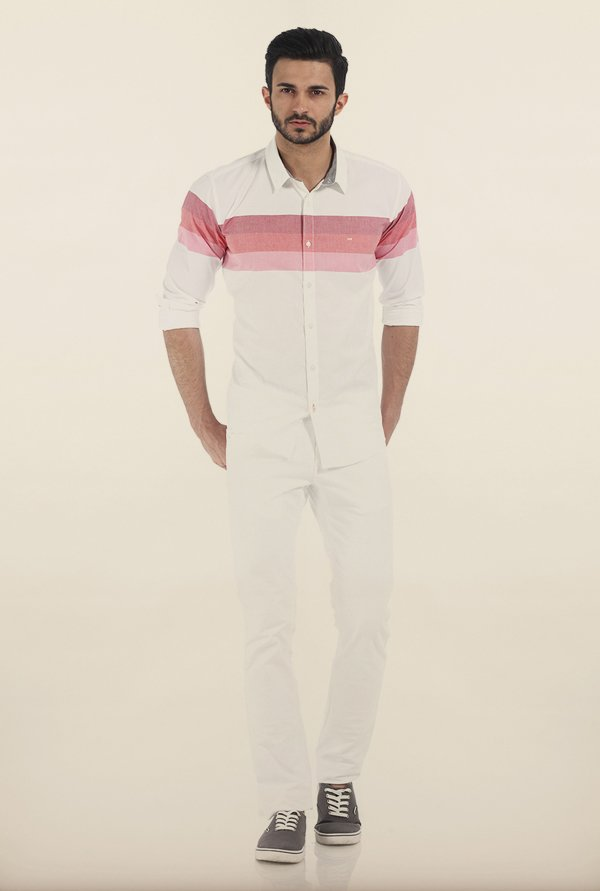 Basics Red & White Weft Striped Oxford Slim Fit Shirt