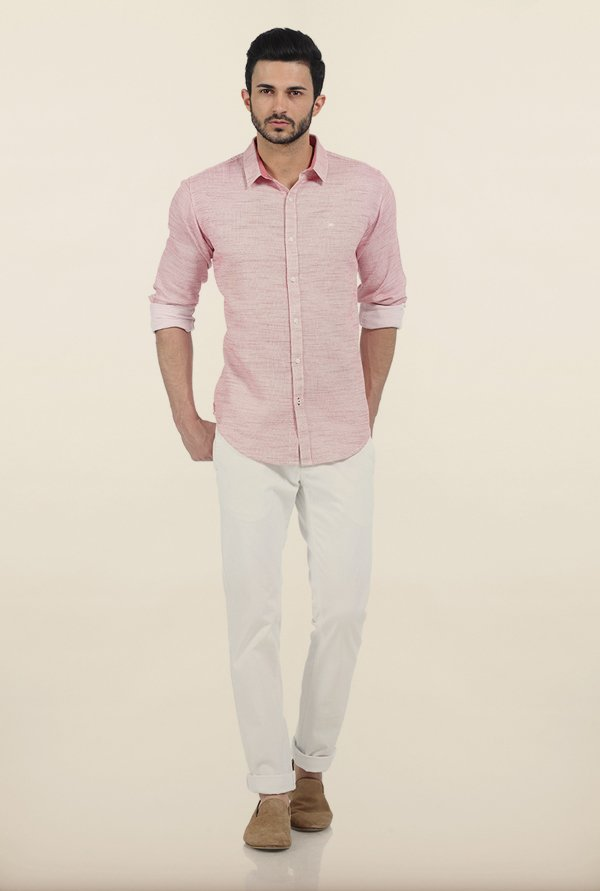Basics Pink Yarn Dyed Dobby Slim Fit Shirt