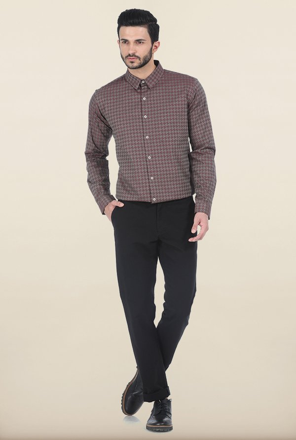 Basics Maroon Houndstooth Slim Fit Shirt