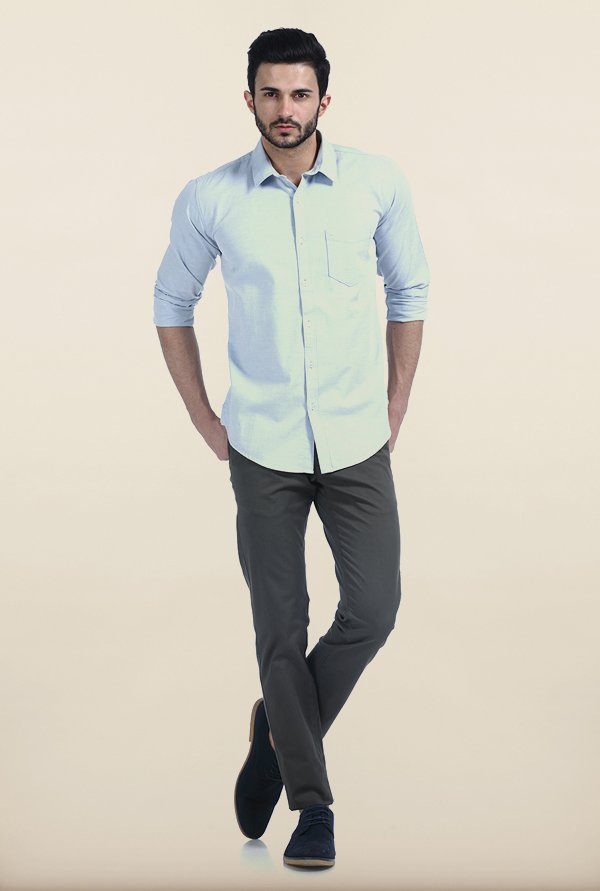 Basics Blue Fog Melange Giza Slim Fit Shirt