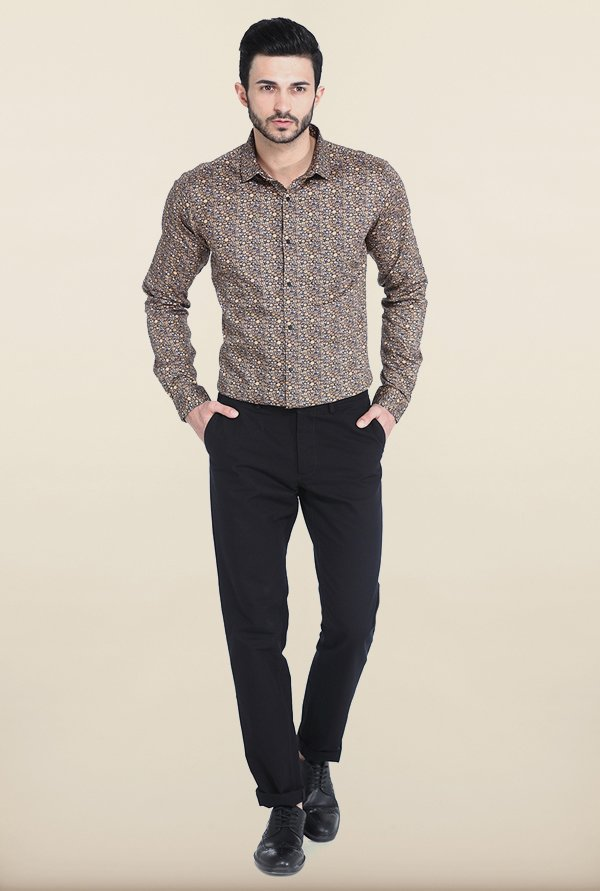 Basics Apple Cinnamon Satin Printed Slim Fit Shirt