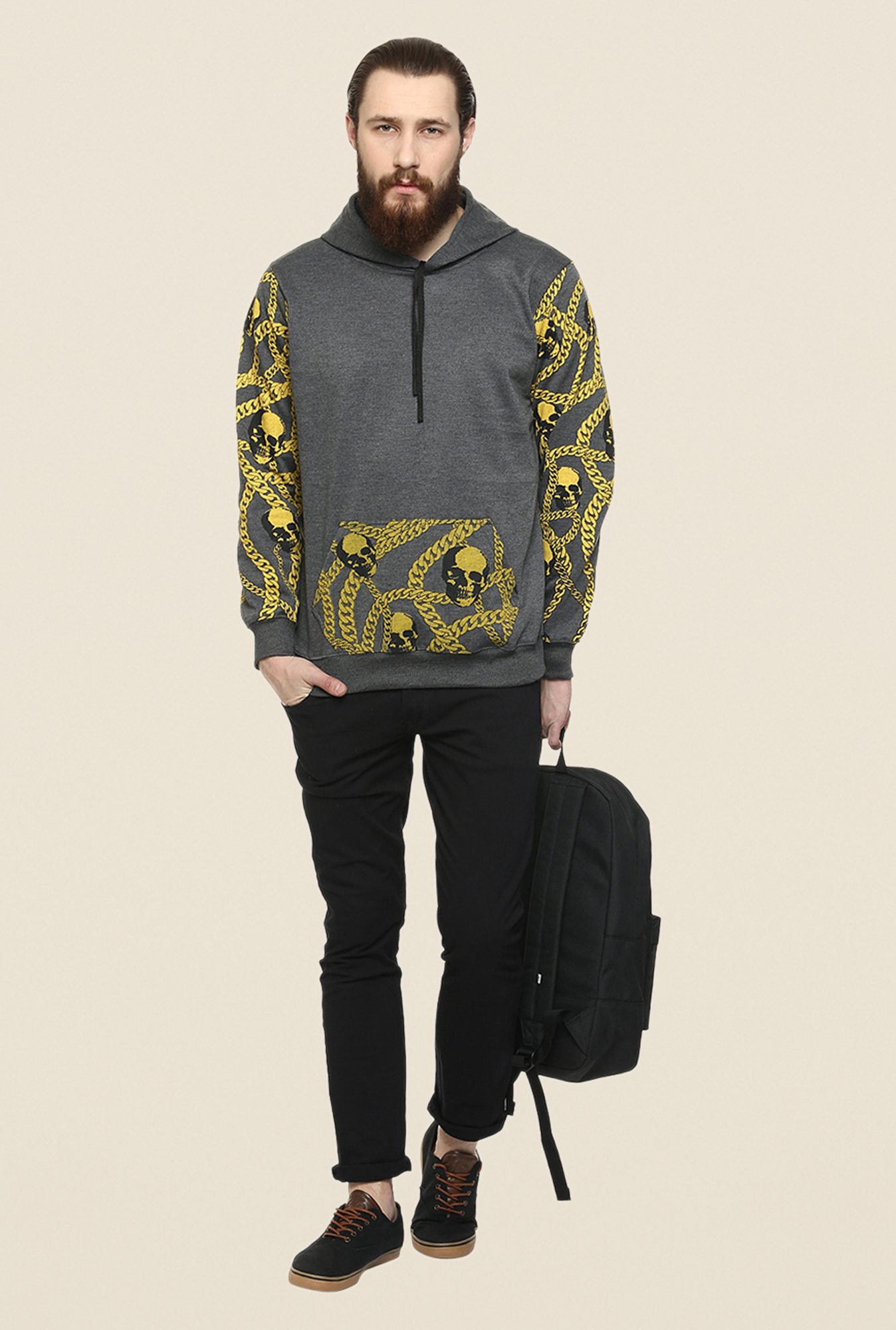 Yepme Wayne Dark Grey & Yellow Printed Hoodie