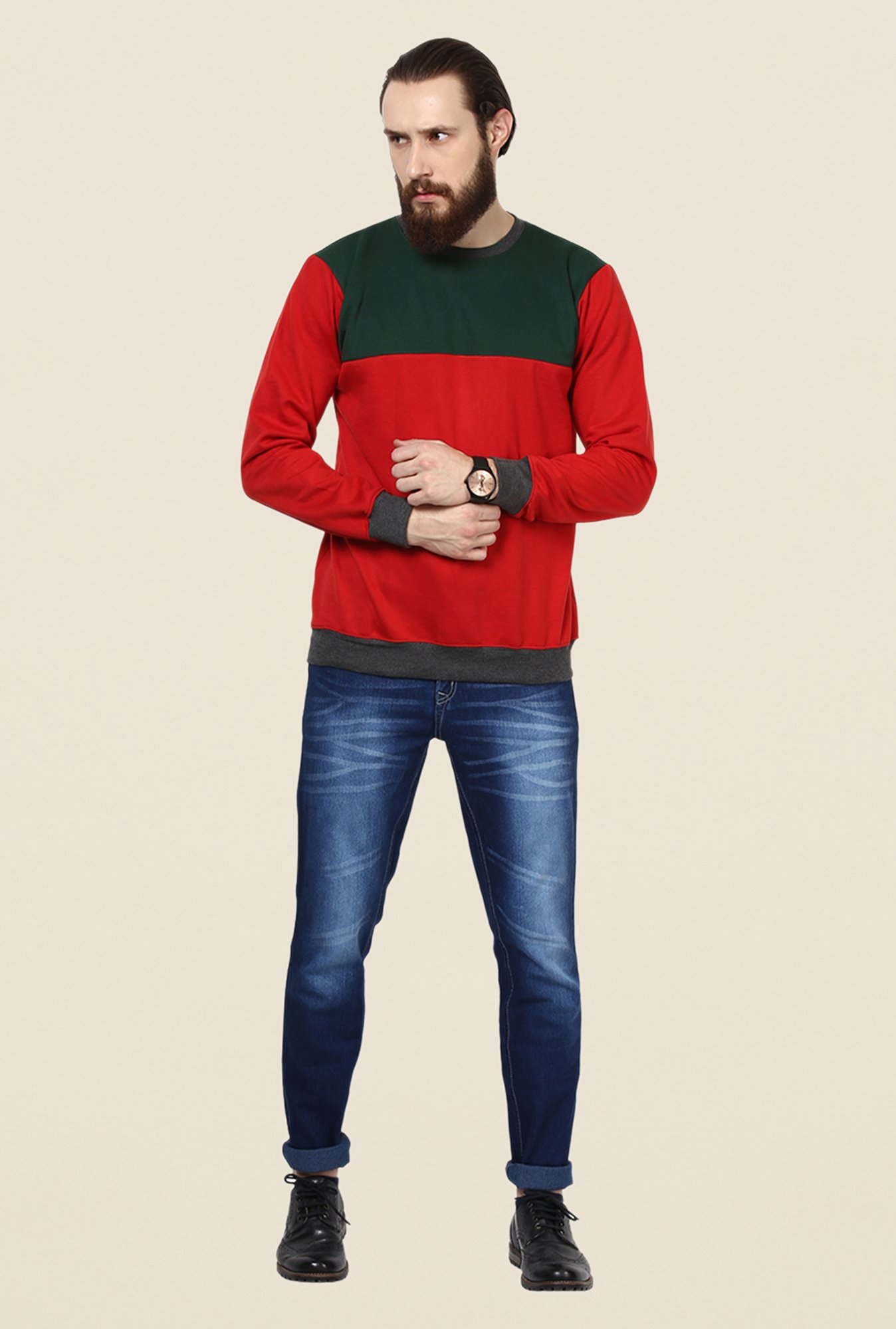 Yepme Darvin Red & Grey Solid Sweatshirt