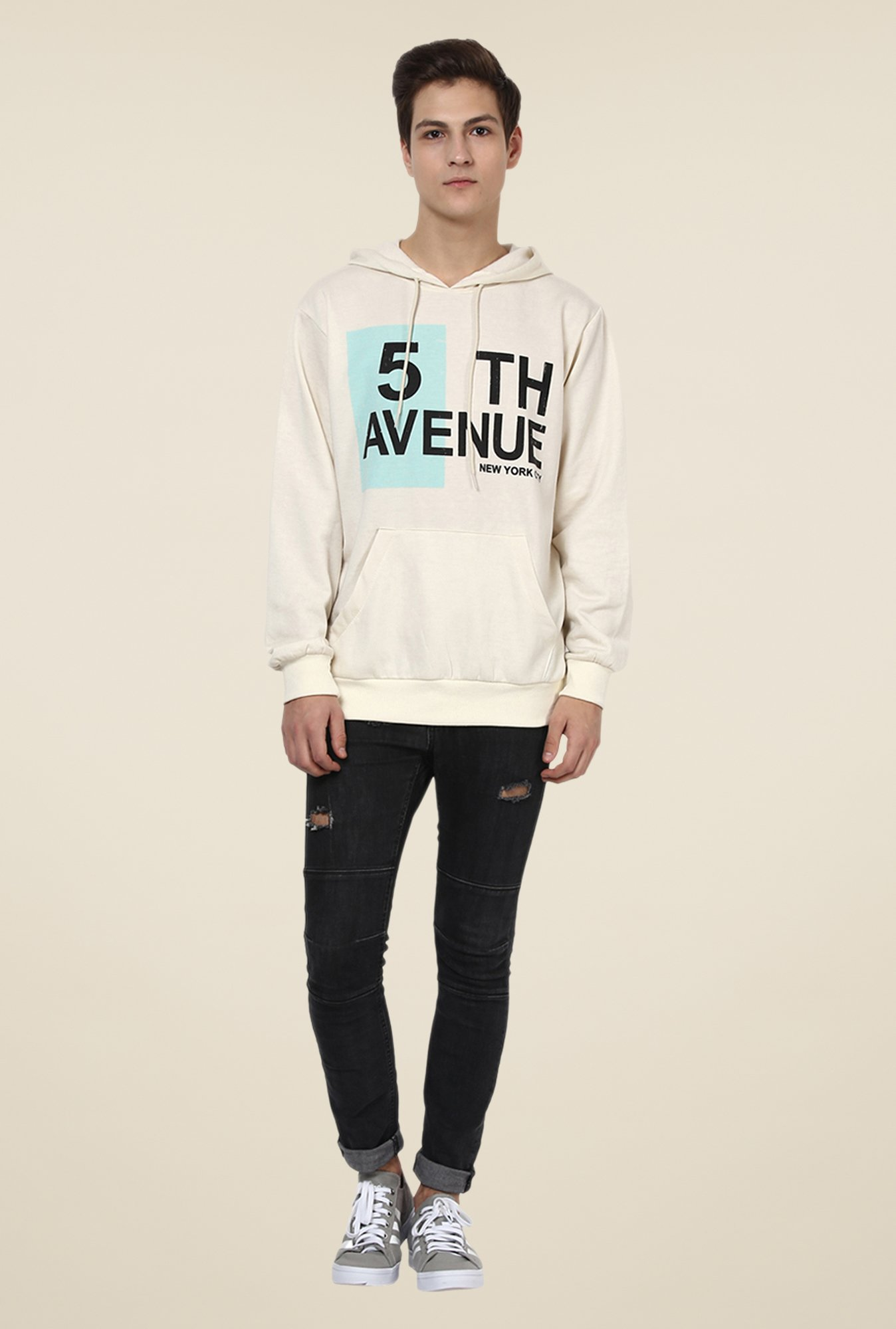 Yepme Jeremy Off-white Printed Hoodie