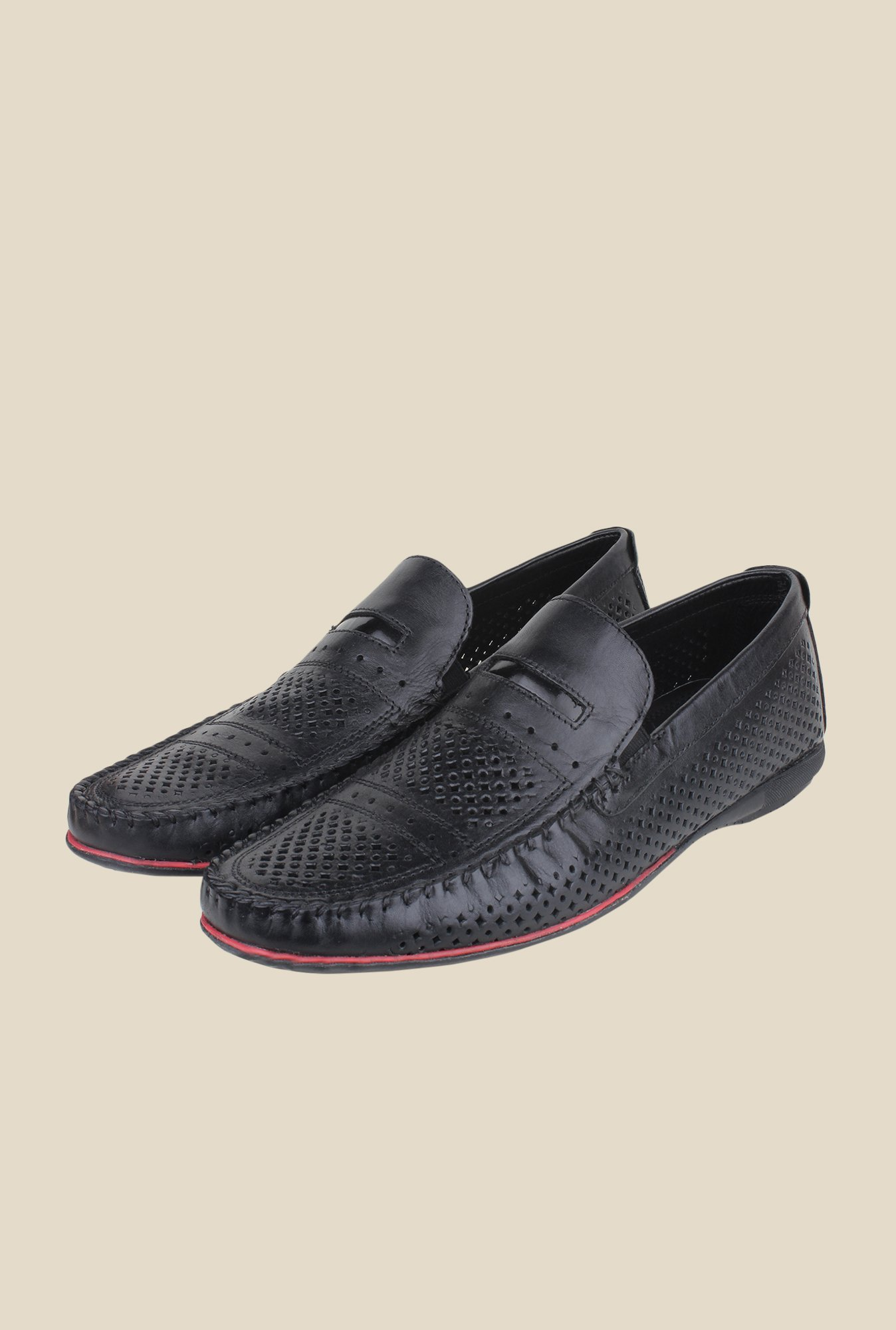 Red Tape Black Leather Slip-Ons