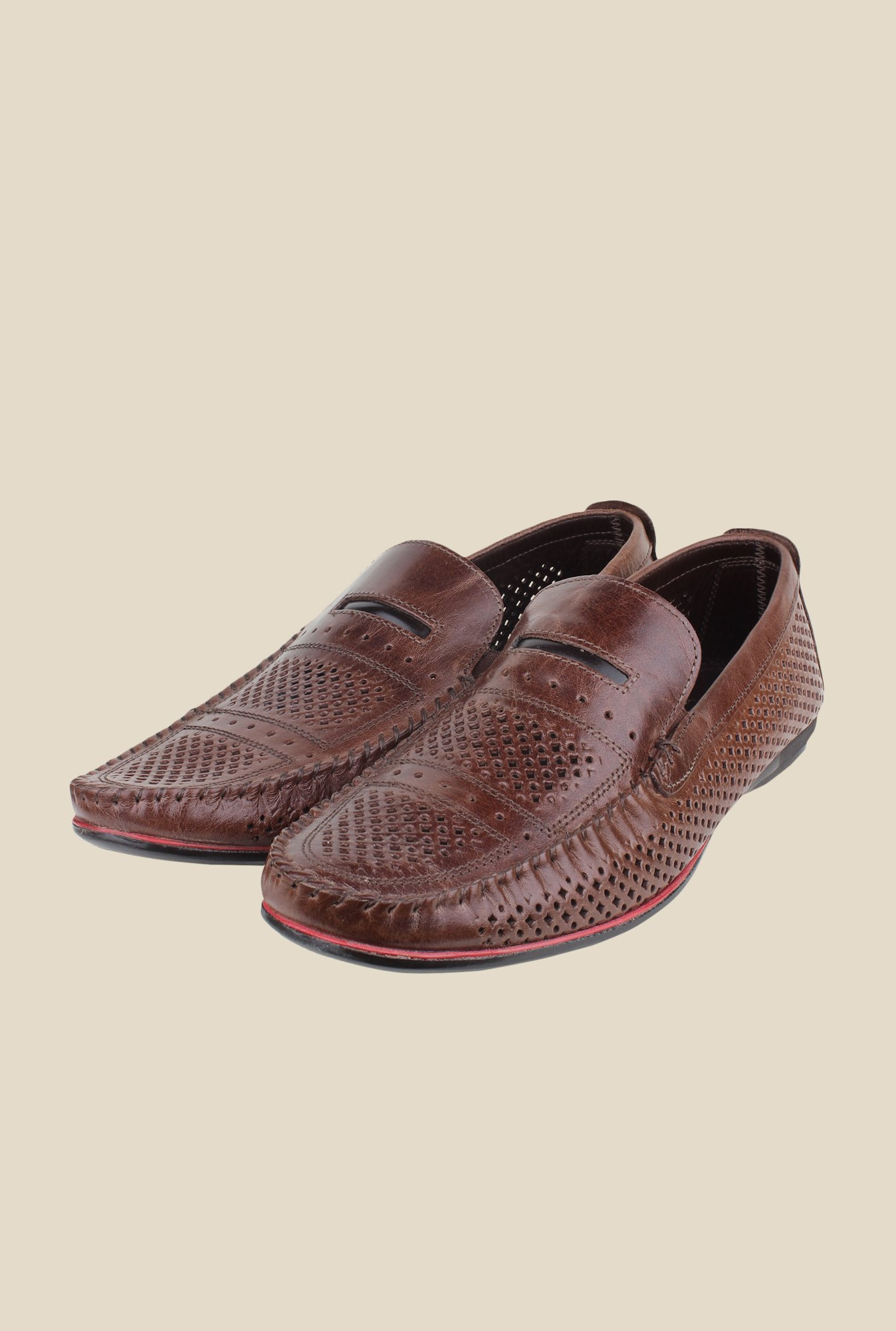 Red Tape Brown Leather Slip-Ons