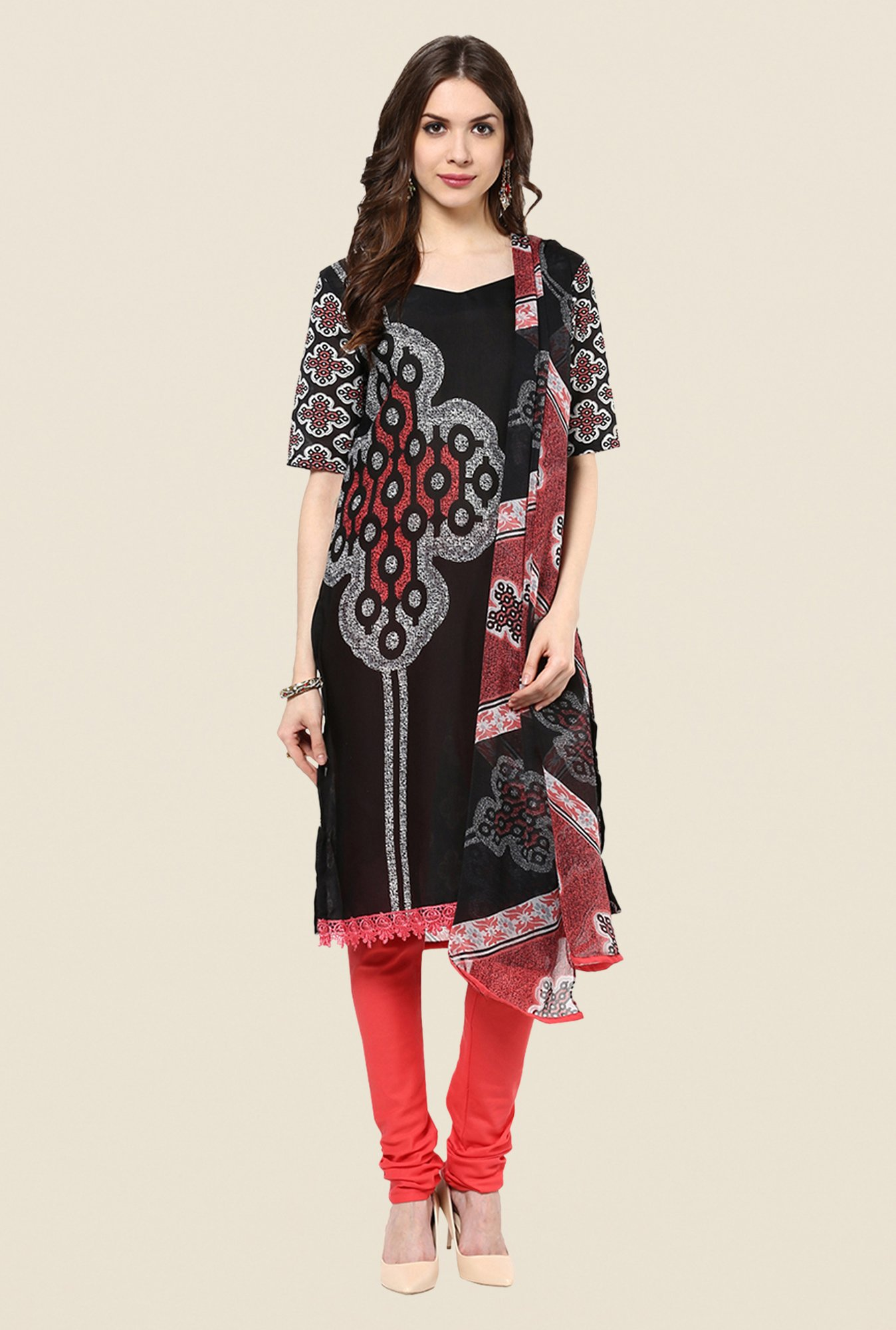 Yepme Lois Black & Coral Salwar Suit Set