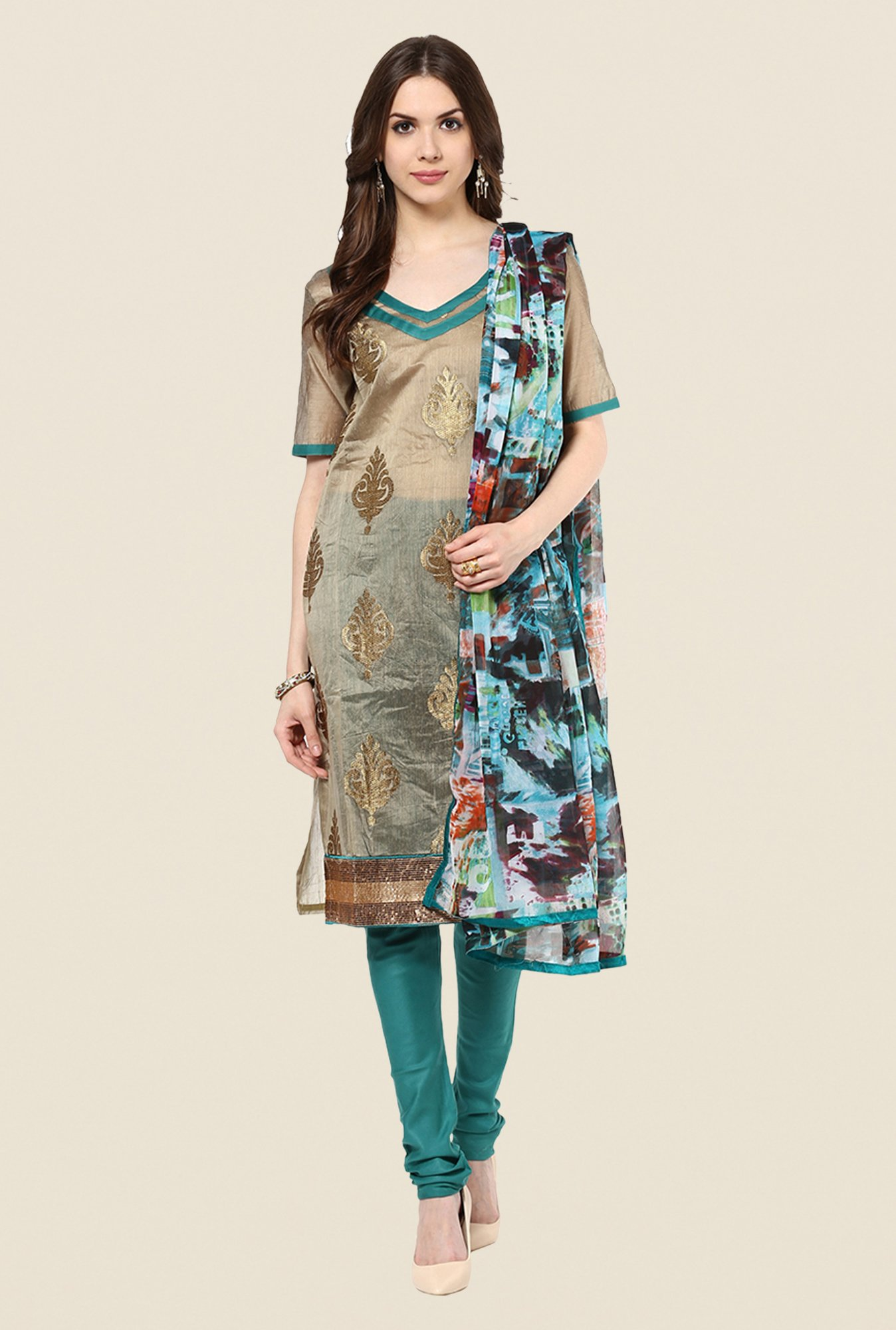 Yepme Opelia Brown & Teal Salwar Suit Set