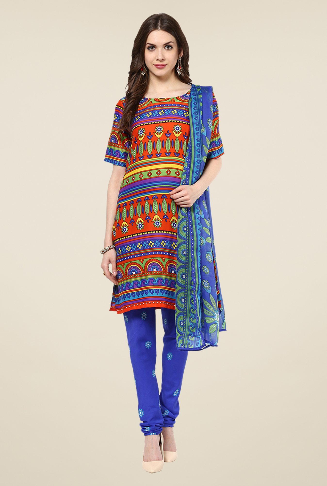 Yepme Priska Blue & Orange Salwar Suit Set