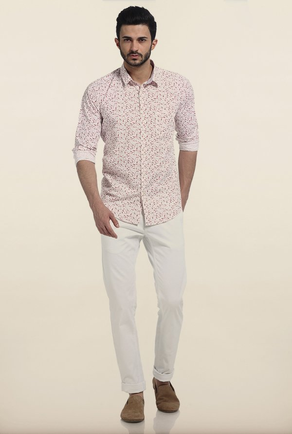 Basics Purple Fish Print Slim Fit Shirt