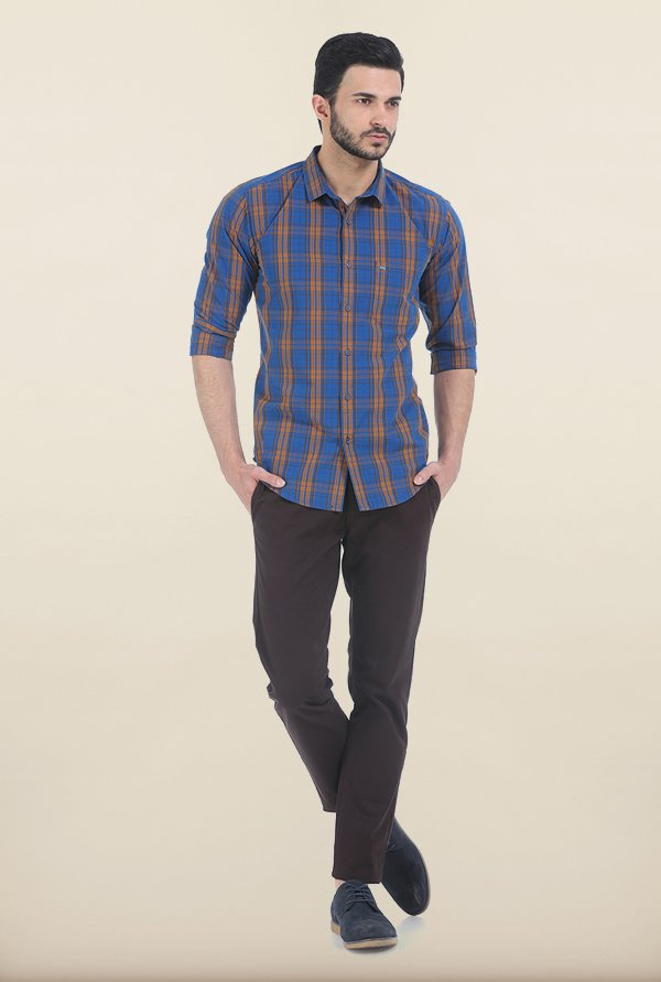 Basics Slim Fit Inca Gold Madras Checks Shirt