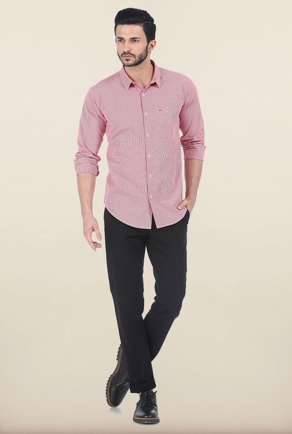 Basics Rococco Red Checked Slim Fit Shirt