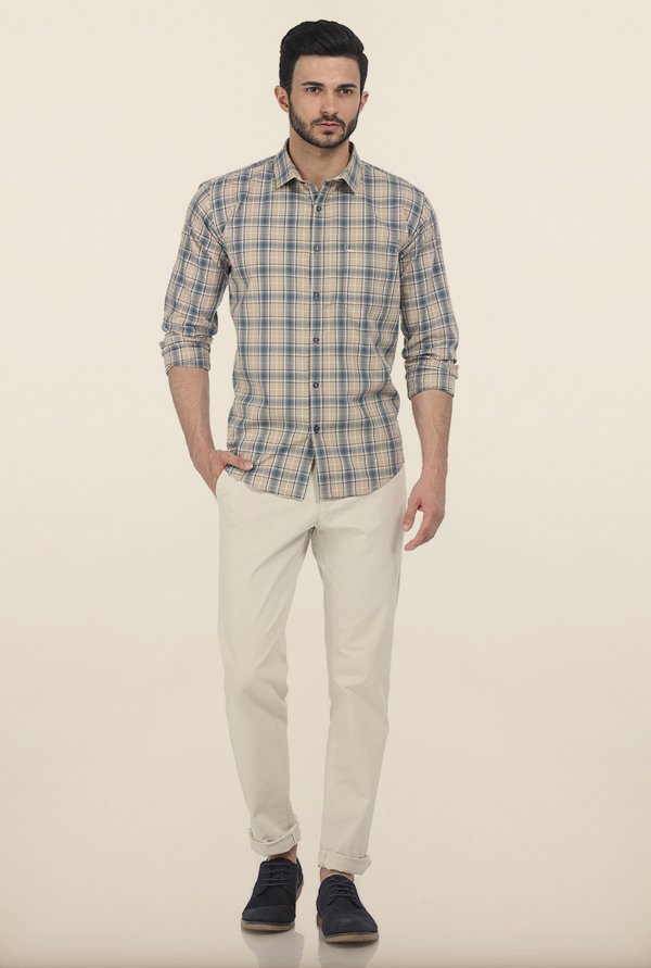 Basics Warm Sand Twill Checks Slim Fit Shirt