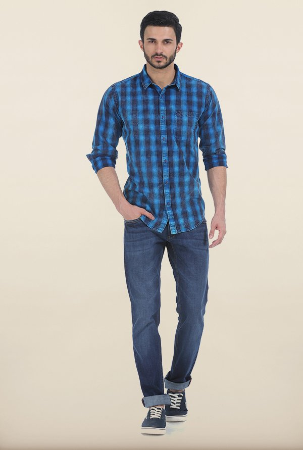 Basics Olympian Blue Indigo Checks Slim Fit Shirt