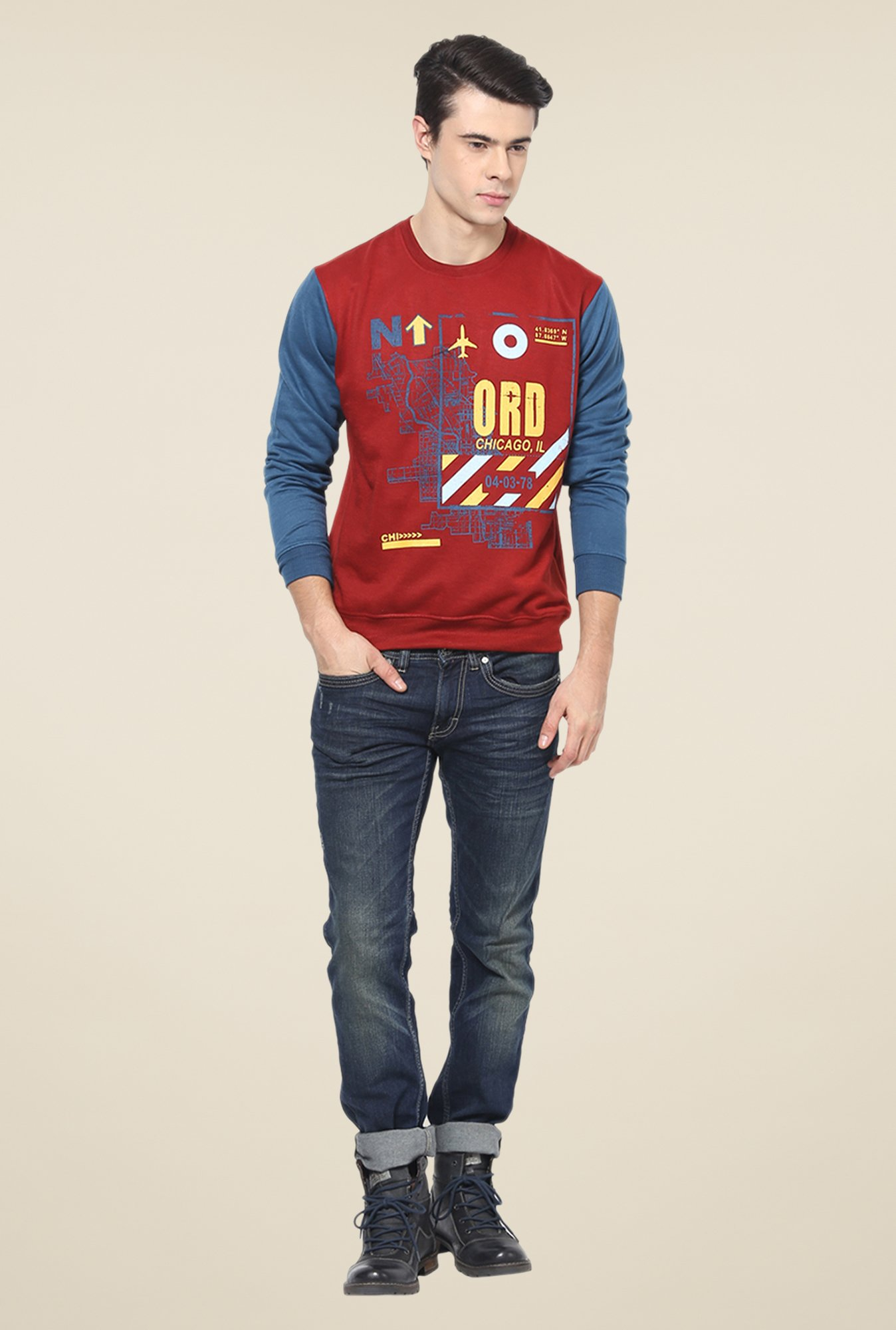 Yepme Freddy Maroon & Blue Graphic Print Sweatshirt