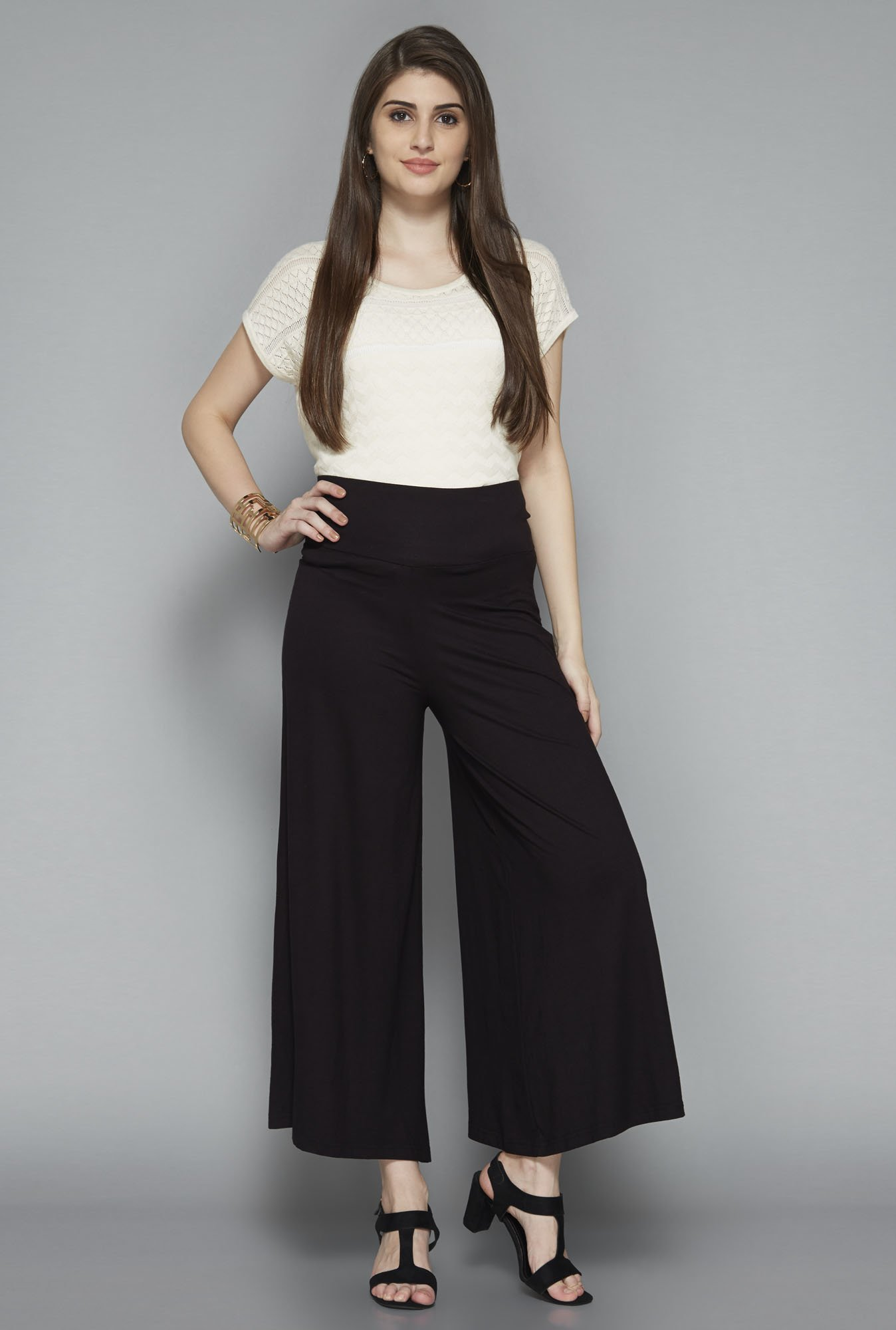 LOV by Westside Black Solid Palazzos