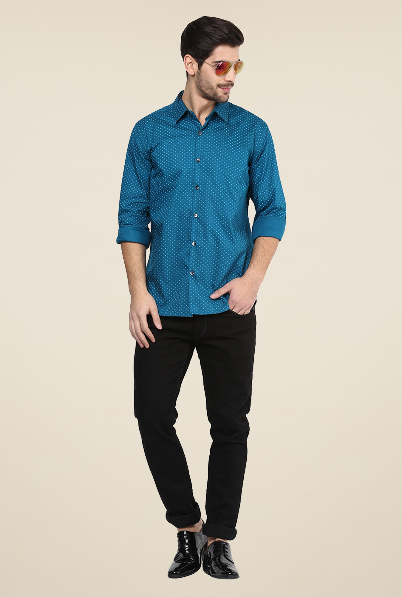 Yepme Teal Blue Bert Printed Party Shirt
