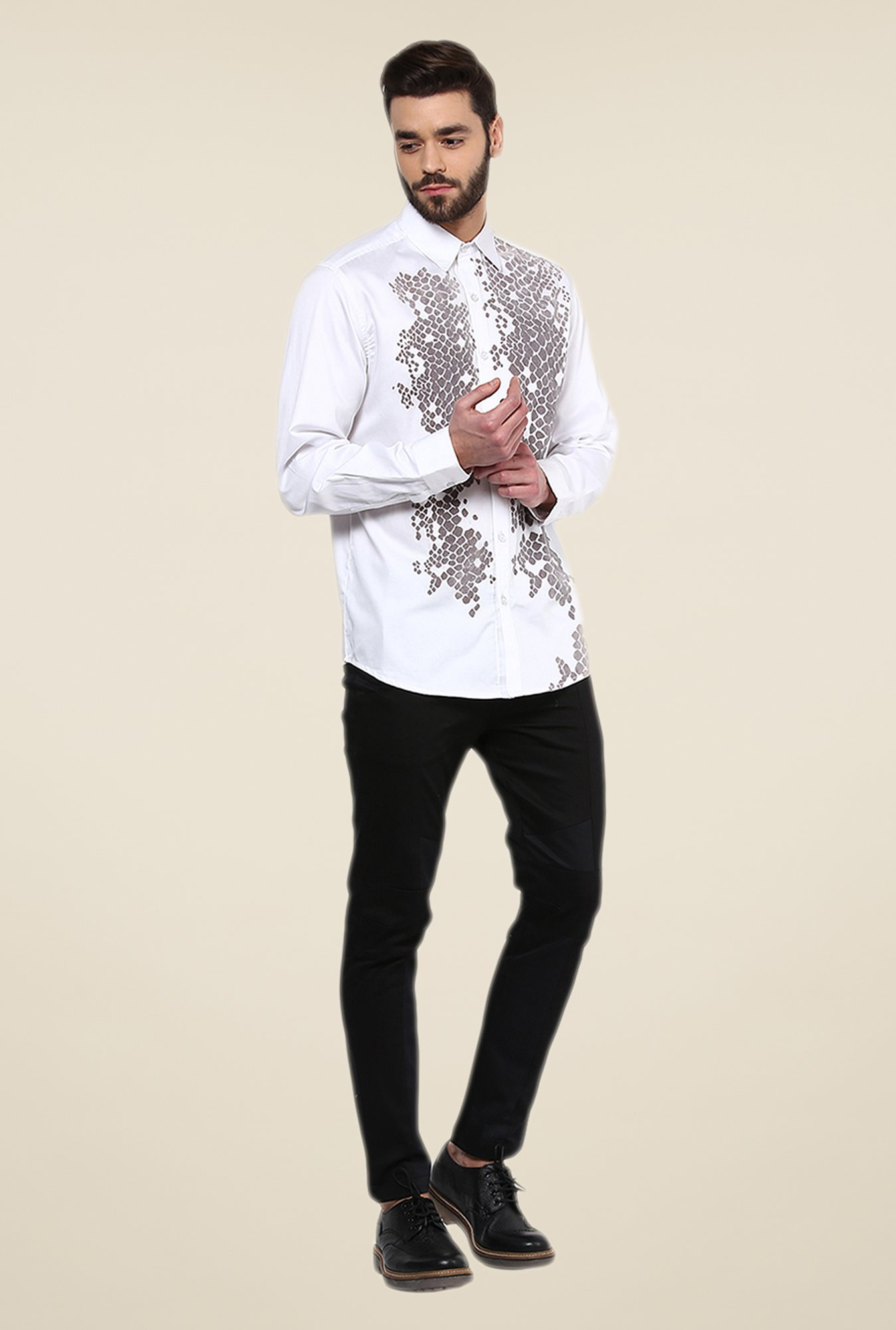 Yepme White Enrik Printed Party Shirt