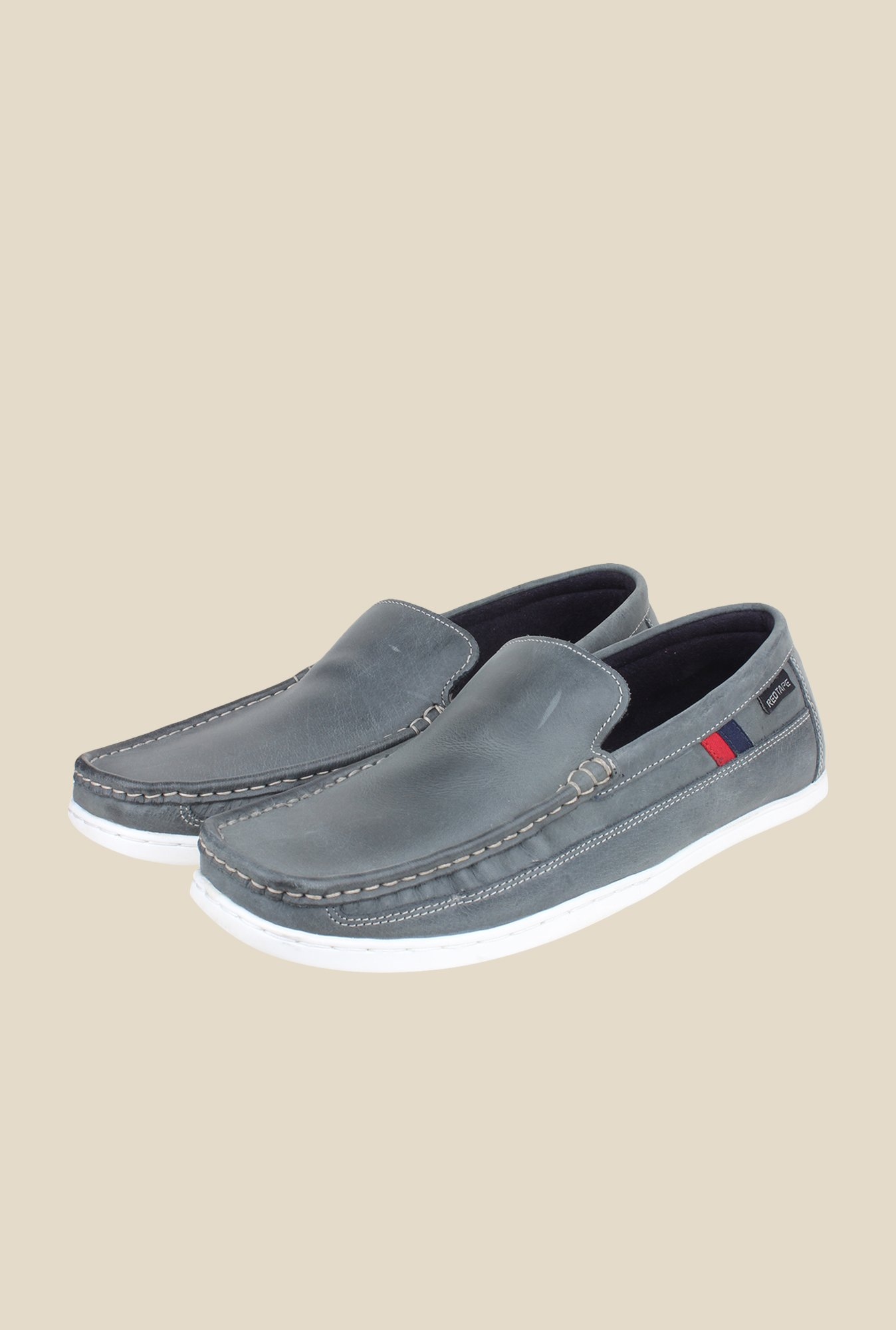 Red Tape Light Navy Leather Loafers