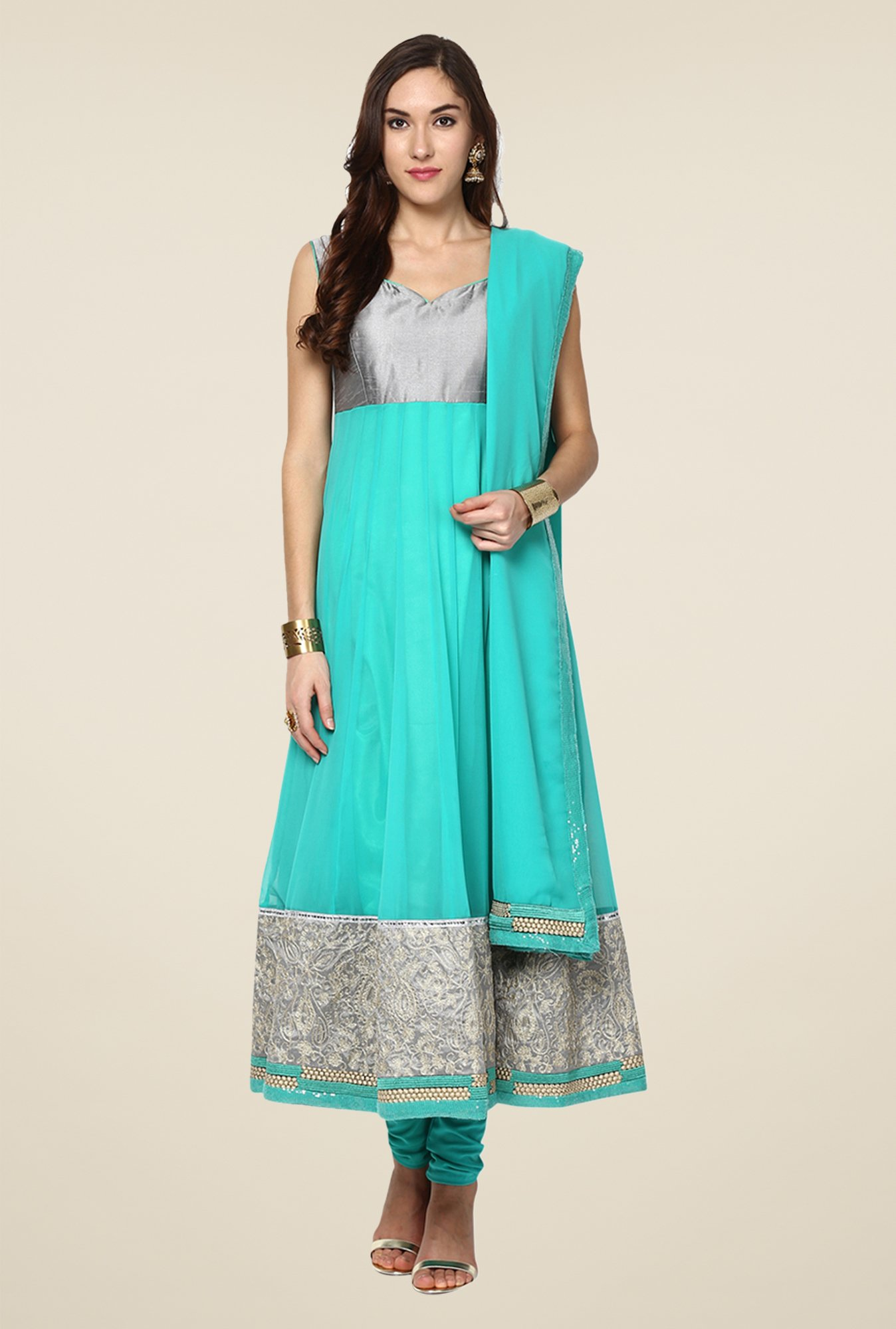 Yepme Merito Sea Green & Silver Salwar Suit Set