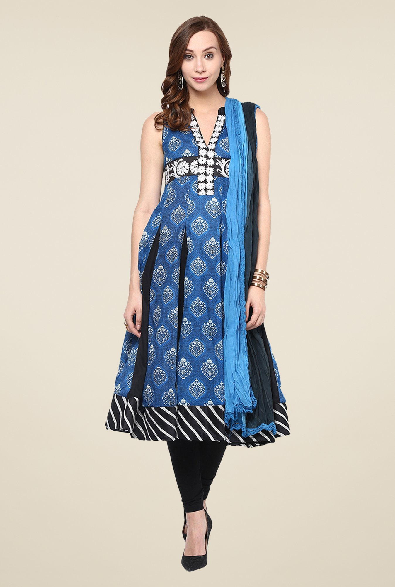 Yepme Blue Anarkali Salwar Suit Set