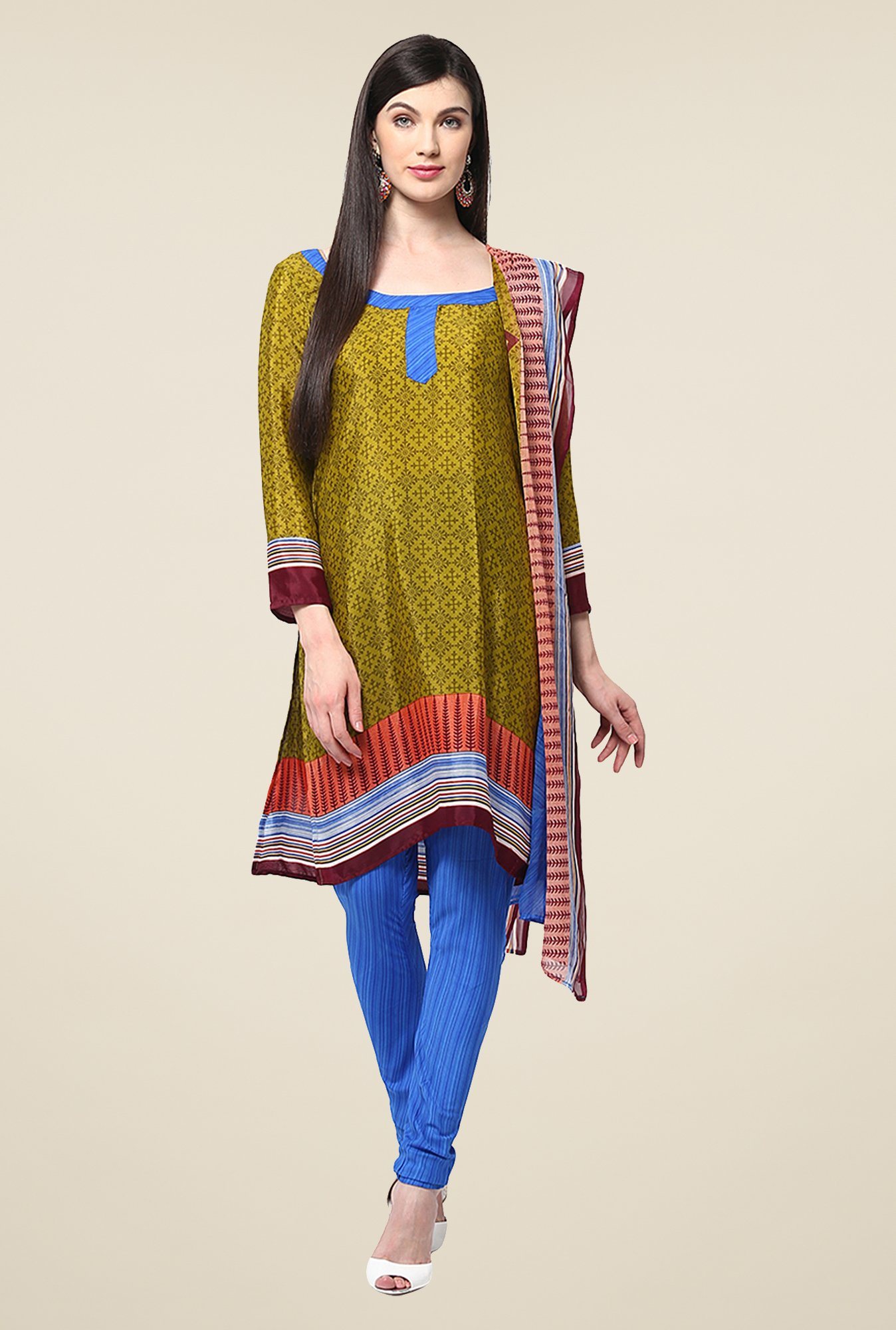 Yepme Hyna Green & Blue Salwar Suit Set