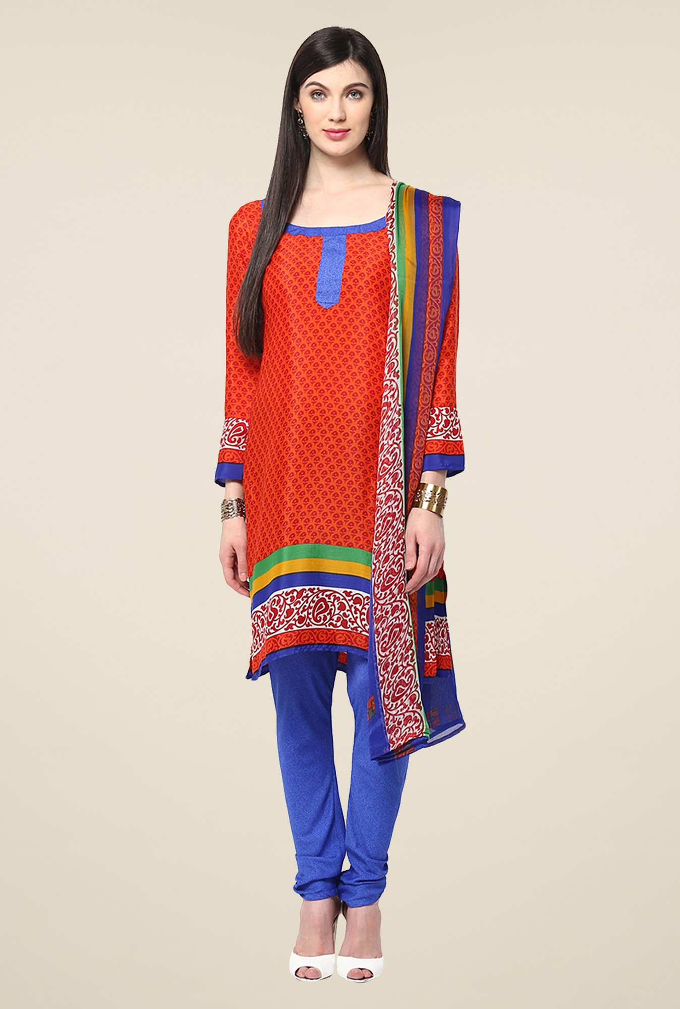 Yepme Hyna Orange & Blue Salwar Suit Set