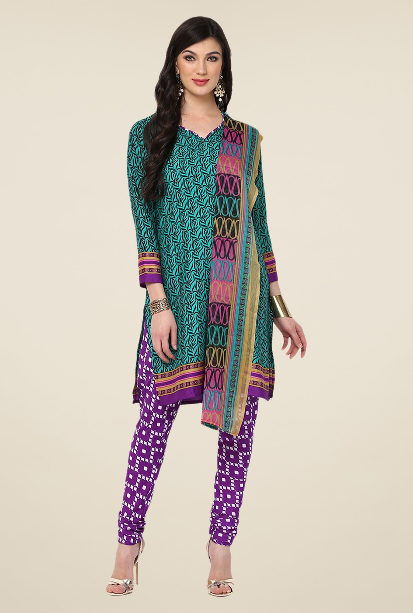 Yepme Teal Densy Salwar Suit Set