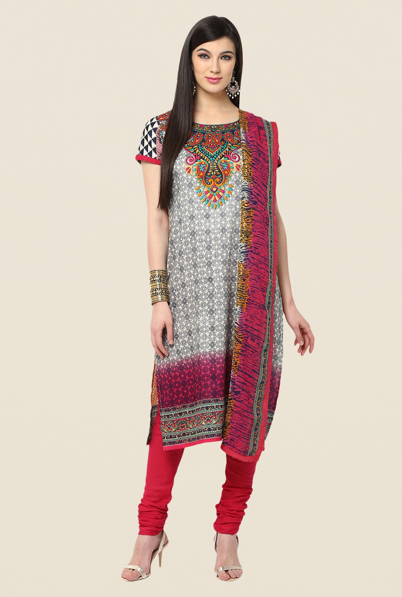 Yepme Grey & Red Baiely Salwar Kameez Set