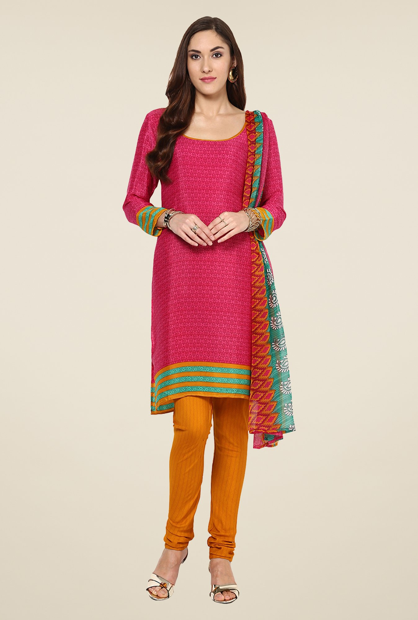 Yepme Hyna Pink & Orange Salwar Suit Set