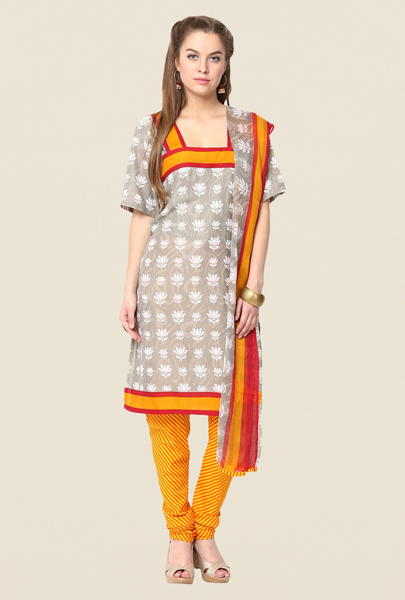 Yepme Grey & Yellow Keto Salwar Kameez Set