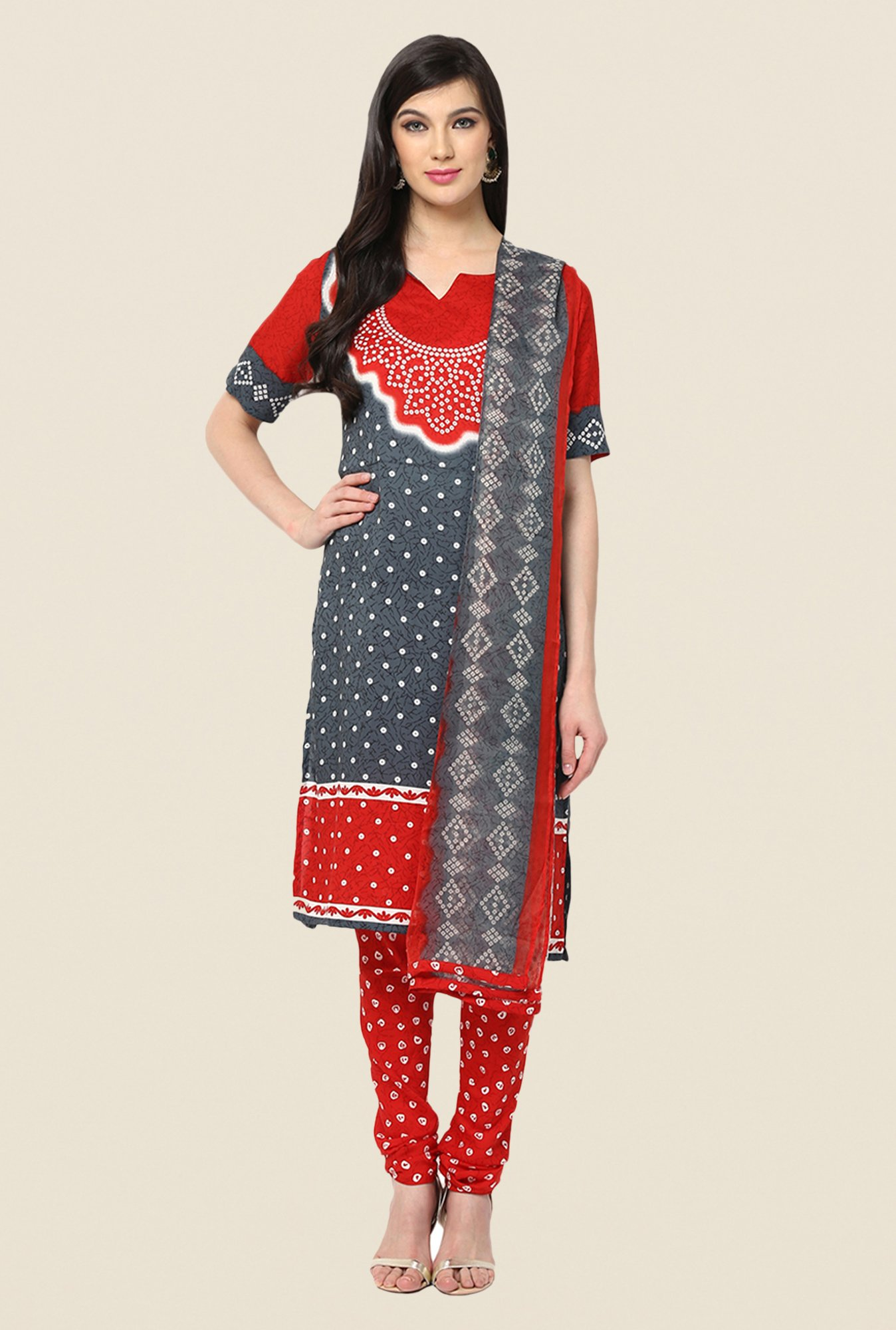 Yepme Grey & Red Keto Salwar Kameez Set