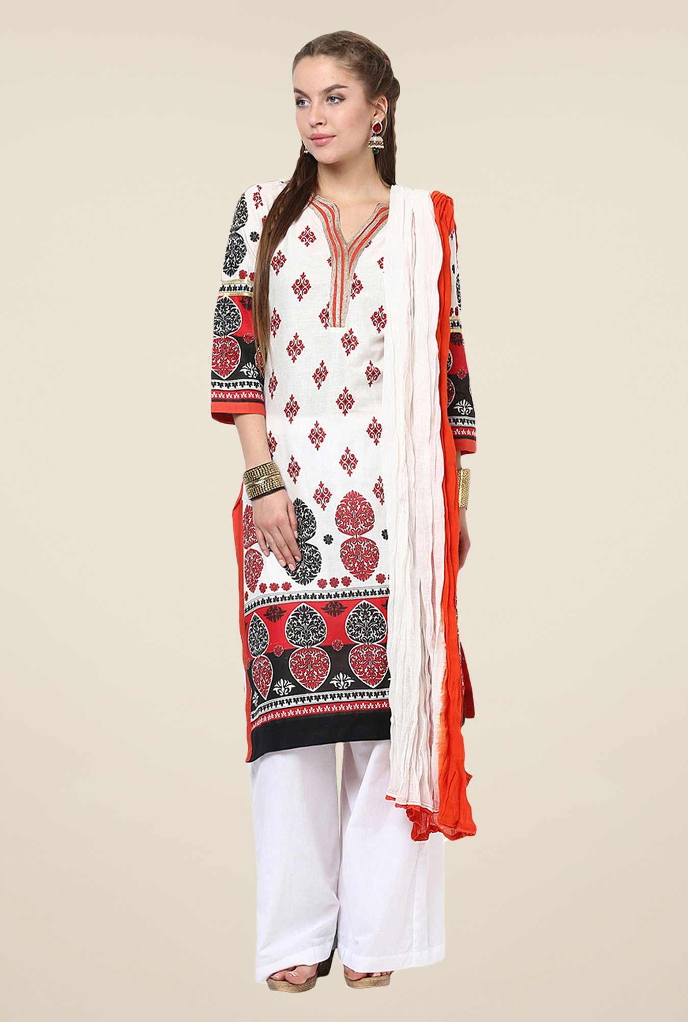 Yepme Off-white & Orange Siena Salwar Kameez Set