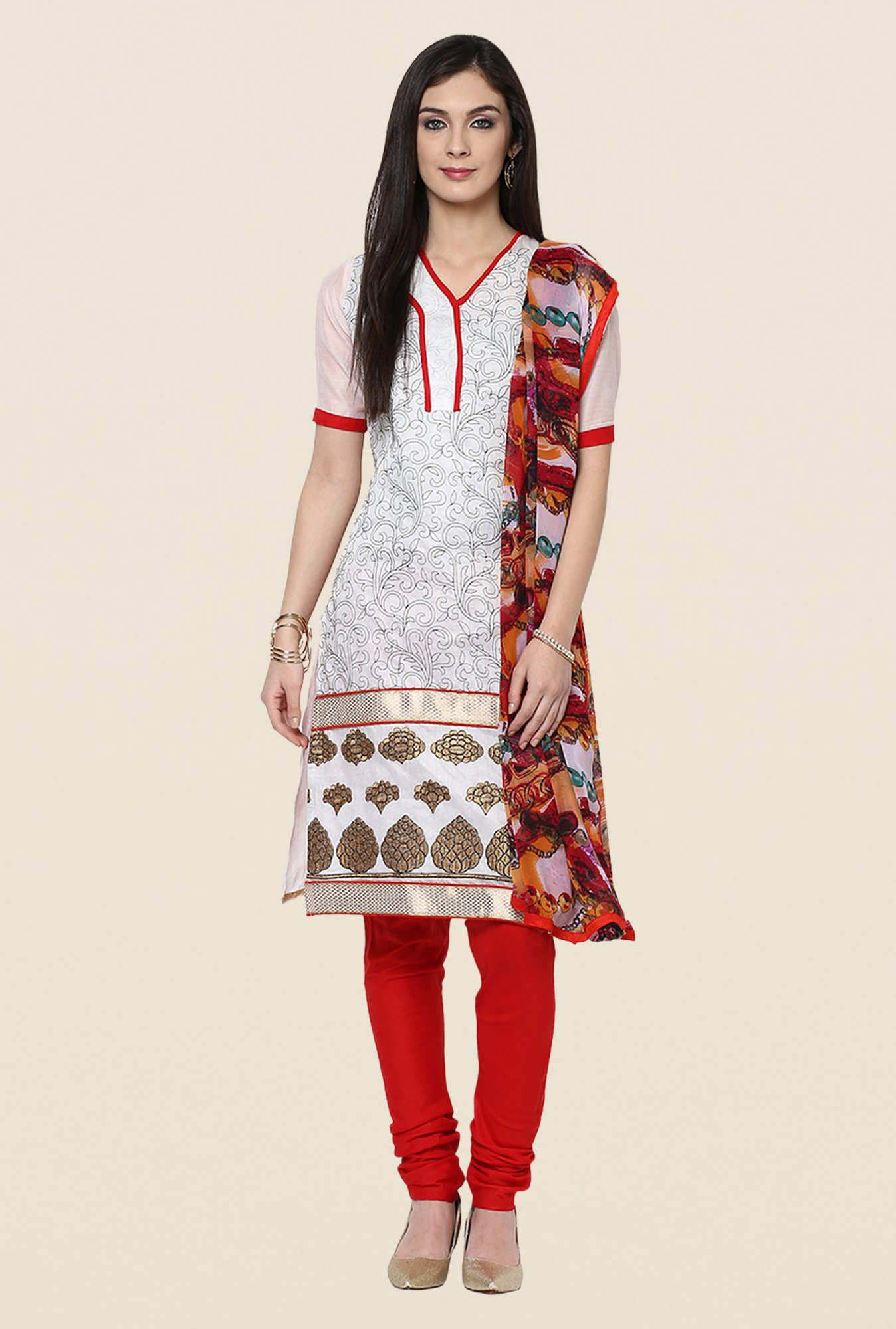 Yepme Opelia White & Red Salwar Suit Set