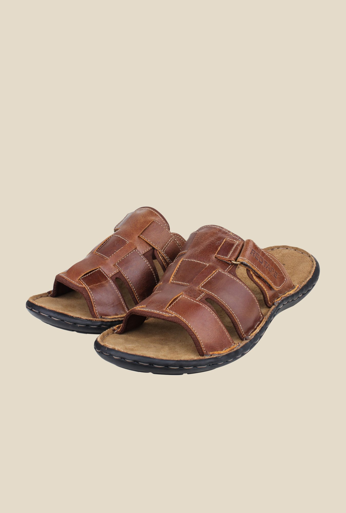 Red Tape Brown Slide Sandals