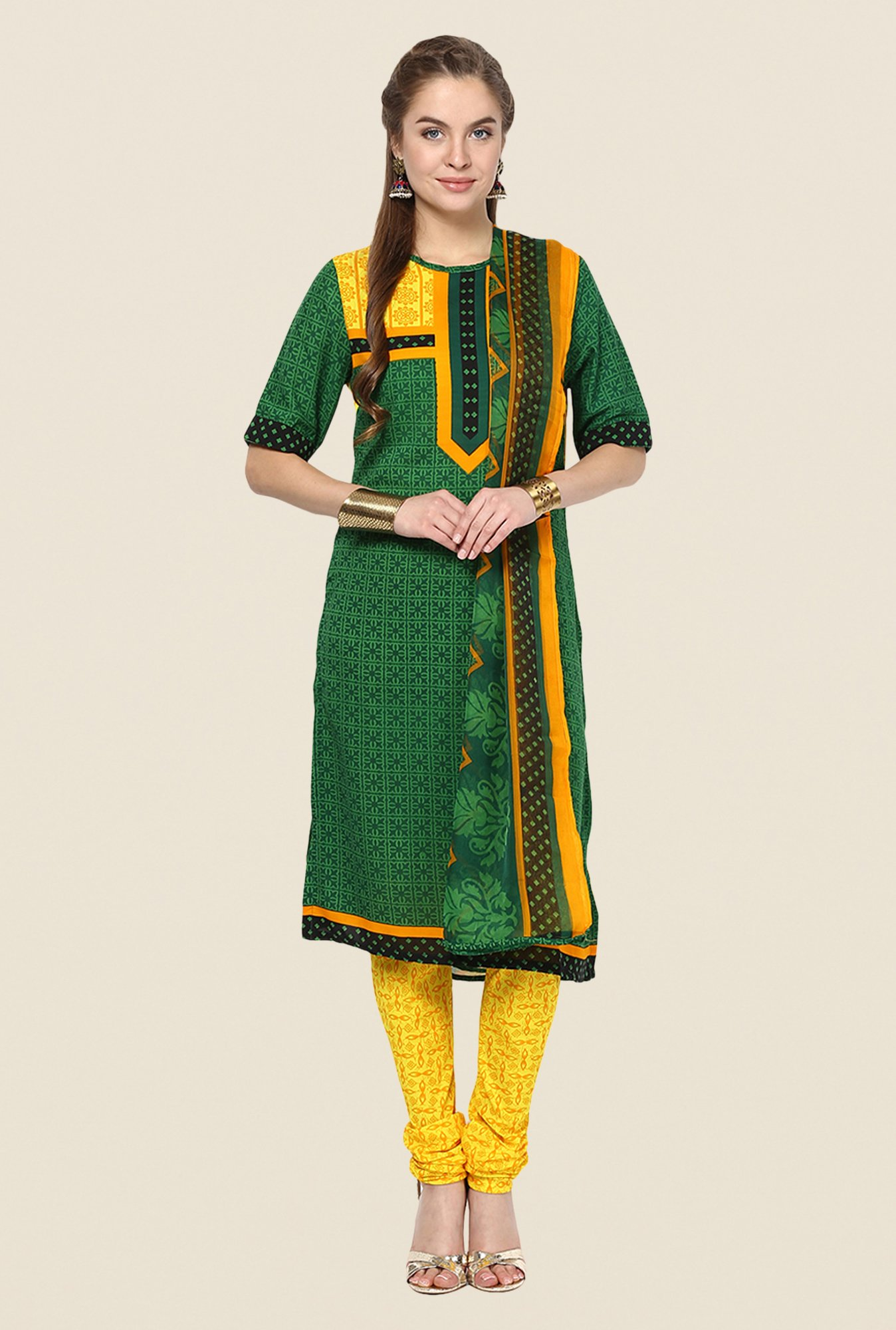 Yepme Green & Yellow Keto Salwar Kameez Set