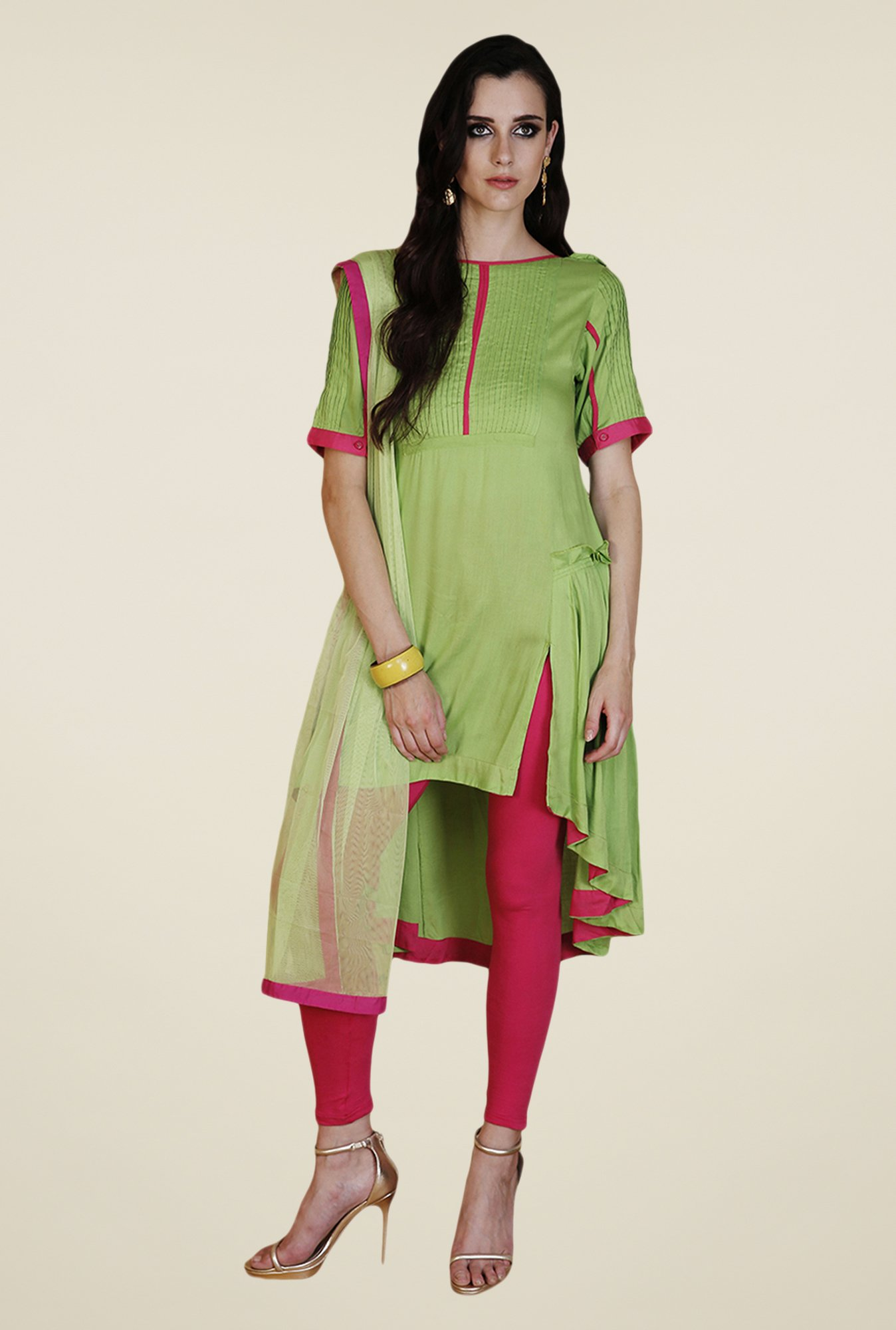 Yepme Green & Pink Nevil Kurti Set