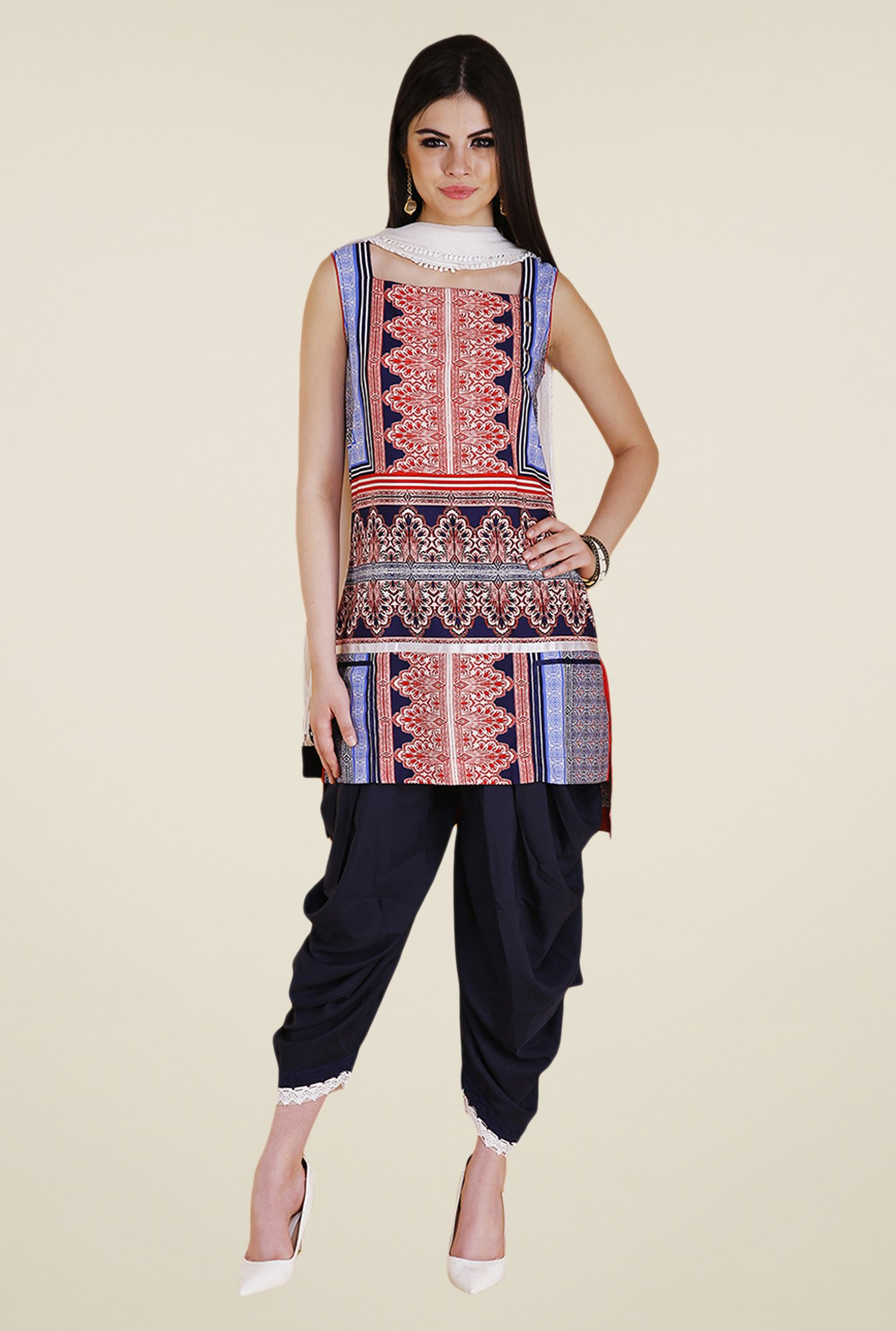 Yepme Red & Navy Zista Kurti Set
