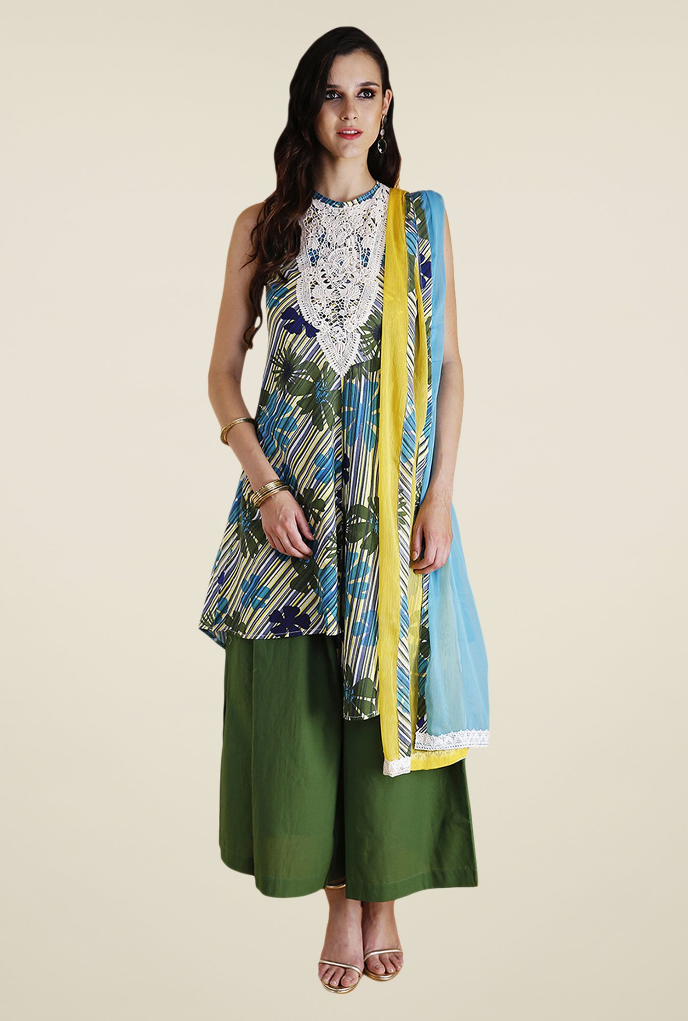 Yepme Blue & Green Rini Kurti Set