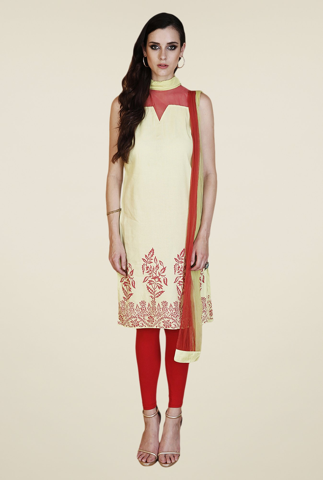 Yepme Green & Red Shayna Kurti Set
