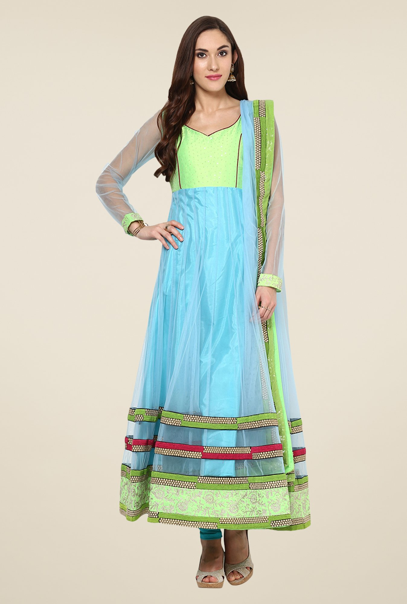 Yepme Green & Blue Zenomi Salwar Suit Set
